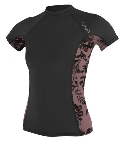 O'NEILL WOMENS RASH T SHIRT.SIDE PRINT UPF50 BLACK SUN PROTECTION TOP 7S 05S DM2